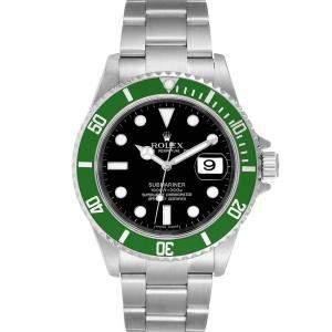 ساعة يد رجالية رولكس سابمارينار أخضر عيد مئوى 50 16610 LV ستانلس ستيل سوداء 40 مم