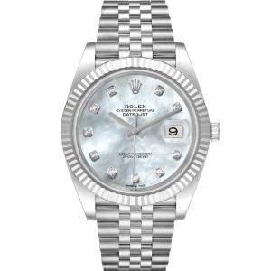 ساعة يد رجالية رولكس ديتجاست 126334 ستانلس ستيل وذهب أبيض عيار 18 ماس صدف 41 مم