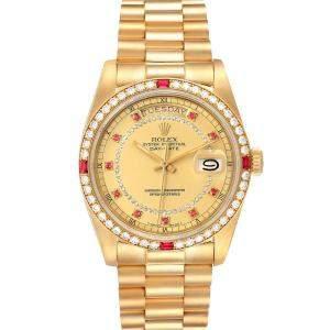 ساعة يد رجالية رولكس بريزدانت داى ديت 18148 ذهب أصفر عيار 18 روبى وماس شامبين 36 مم