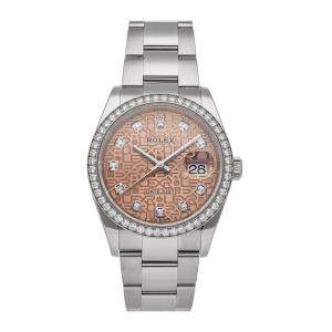 Rolex Rose Diamonds 18K White Gold And Stainless Steel Datejust 126284RBR Men's Wristwatch 36 MM