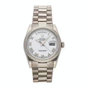 Rolex White 18K White Gold Day-Date 118239 Men's Wristwatch 36 MM