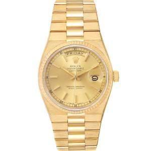 Rolex Champagne 18K Yellow Gold Oysterquartz President Day-Date 19018 Men's Wristwatch 36 MM