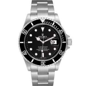 Rolex Black Stainless Steel Submariner 16610 Men's Wristwatch 40 MM