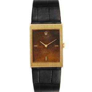 Rolex Brown 18k Yellow Gold Cellini Vintage 4127 Men's Wristwatch 24 x 33 MM