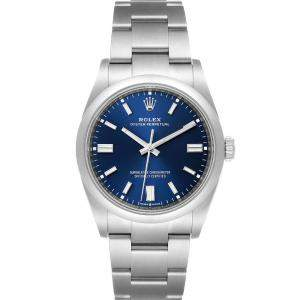 Rolex Blue Stainless Steel Oyster Perpetual 126000 Men's Wristwatch 36 MM
