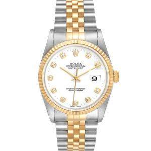 Rolex White Diamonds 18K Yellow Gold And Stainless Steel Datejust 16233 Men's Wristwatch 36 MM