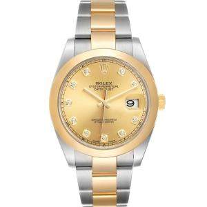 Rolex Champagne Diamonds 18K Yellow Gold And Stainless Steel Datejust 126303 Men's Wristwatch 41 MM