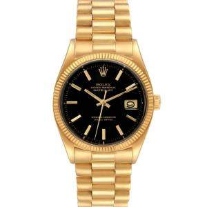 Rolex Black 18K Yellow Gold Datejust Automatic Men's Wristwatch 36 MM