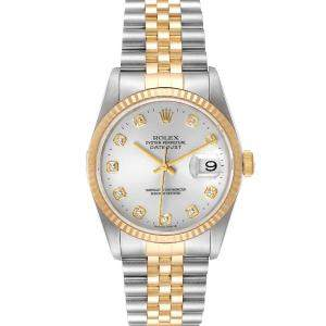 Rolex Silver Diamonds 18K Yellow Gold And Stainless Steel Datejust 16233 Men's Wristwatch 36 MM