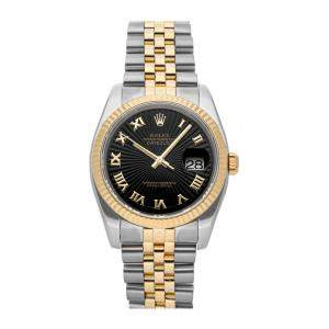 Rolex Black 18k Yellow Gold And Stainless Steel Datejust 116233 Men's Wristwatch 36 MM