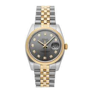 Rolex Grey Diamonds 18K Yellow Gold And Stainless Steel Datejust 116233 Men's Wristwatch 36 MM