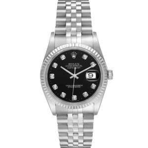 Rolex Black Diamonds 18K White Gold And Stainless Steel Datejust 16234 Men's Wristwatch 36 MM
