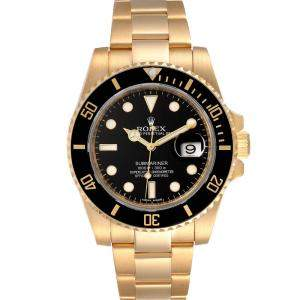 Rolex Black 18K Yellow Gold Submariner 116618 Men's Wristwatch 40 MM