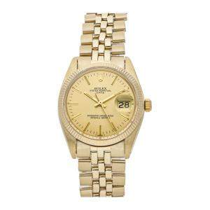 Rolex Champagne 18K Yellow Gold Oyster Perpetual Date 1503 Men's Wristwatch 34 MM