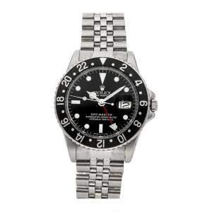 Rolex Black Stainless Steel GMT-Master 1675 Men's Wristwatch 40 MM