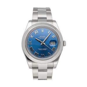 Rolex Blue Stainless Steel Datejust II 116300 Men's Wristwatch 41 MM