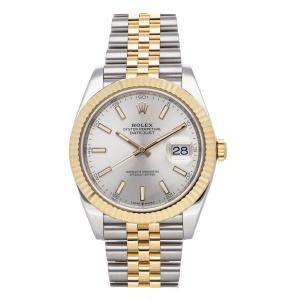 Rolex Silver 18K Yellow Gold And Stainless Steel Datejust 126333 Men's Wristwatch 41 MM