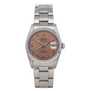 Rolex Salmon Stainless Steel Datejust 16200 Men's Wristwatch 36 MM