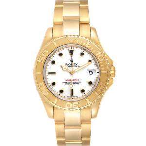 Rolex White 18K Yellow Gold Yachtmaster 68628 Men's Wristwatch 35 MM
