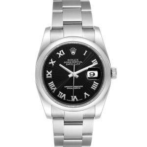 Rolex Black Stainless Steel Datejust 116200 Men's Wristwatch 36 MM