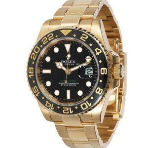 Rolex Black 18K Yellow Gold GMT Master II 116718 Men's Wristwatch 40 MM