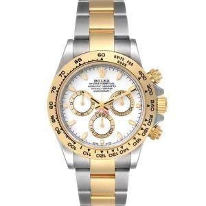 ساعة يد رجالية رولكس كوزموغراف دايتونا 116503 ستانلس ستيل وذهب أصفر عيار 18 أبيض 40 مم