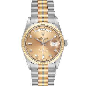 Rolex Champagne Diamonds 18K White Yellow Rose Gold President Day-Date Tridor 18239 Men's Wristwatch 36 MM