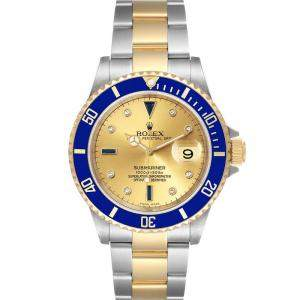 Rolex Champagne Diamonds 18K Yellow Gold And Stainless Steel Submariner 16613 Men's Wristwatch 40 MM