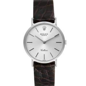 Rolex Silver 18k White Gold Cellini Classic 4112 Men's Wristwatch 30.5 MM