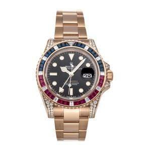 Rolex Black Diamonds 18K Rose Gold GMT-Master II 126755SARU Men's Wristwatch 40 MM