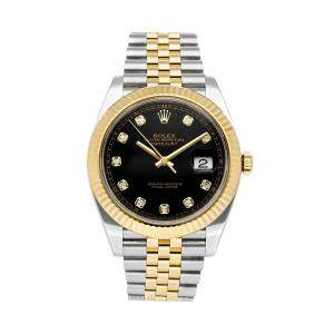 Rolex Black Diamonds 18K Yellow Gold And Stainless Steel Datejust 126333 Men's Wristwatch 41 MM