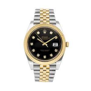 ساعة يد رجالية رولكس ديتجست 126333 ذهب أصفر عيار 18 وستانلس ستيل ألماس أسود 41 مم