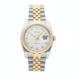 Rolex Silver Diamonds 18K Yellow Gold And Stainless Steel 116233 Automatic Men's Wristwatch 36 MM
