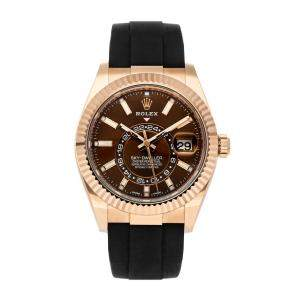 Rolex Brown 18K Rose Gold Sky-Dweller 326235 Men's Wristwatch 42 MM