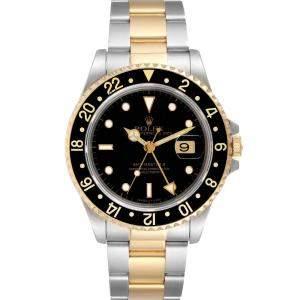 ساعة يد رجالية رولكس جي أم تي ماستر أي أي 16713 ستانلس ستيل وذهب أصفر عيار 18 أسود 40 مم