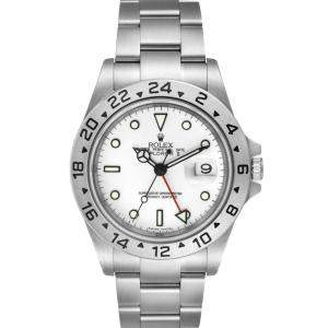 Rolex White Stainless Steel Explorer II Automatic 16570 Men's Wristwatch 40 MM