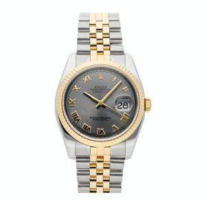 Rolex Grey 18K Yellow Gold And Stainless Steel Datejust 116233 Men's Wristwatch 36 MM