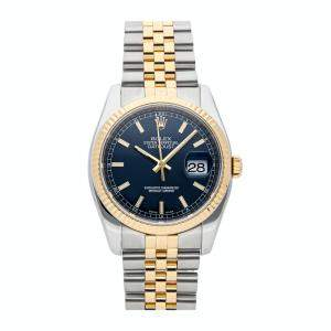 Rolex Blue 18K Yellow Gold And Stainless Steel Datejust 116233 Men's Wristwatch 36 MM