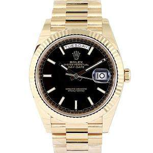 Rolex Black 18K Yellow Gold Day-Date Men's Wristwatch 40 MM