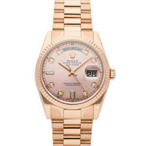 Rolex Pink Diamonds 18k Rose Gold Day-Date 118235 Men's Wristwatch 36 MM