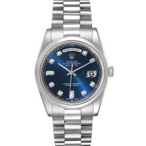 Rolex Blue Diamonds Platinum President Day-Date 118206 Men's Wristwatch 36 MM