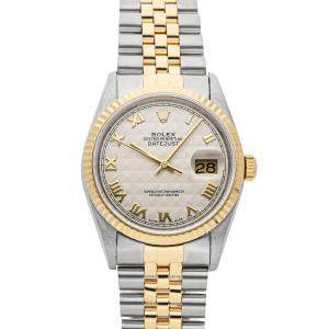 Rolex Champagne 18K Yellow Gold And Stainless Steel Datejust Men's Wristwatch 36 MM