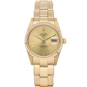 Rolex Champagne 18K Yellow Gold Date 15238 Men's Wristwatch 34 MM