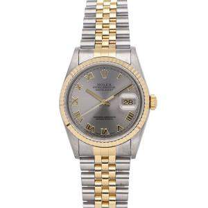 Rolex Grey 18k Yellow Gold And Stainless Steel Datejust 16233 Men's Wristwatch 36 MM