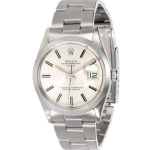 Rolex Silver Stainless Steel Date 15000 Men's Wristwatch 34 MM