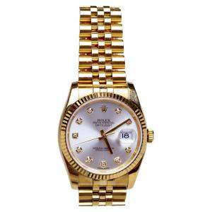 Rolex Silver Diamonds 18K Yellow Gold Datejust Men's Wristwatch 36 MM