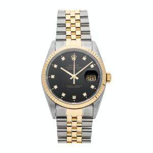 Rolex Black 18K Yellow Gold And Stainless Steel Datejust 16233 Men's Wristwatch 36 MM
