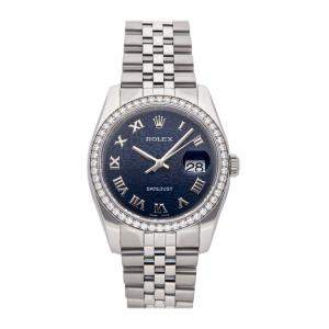 Rolex Blue Diamonds Stainless Steel Datejust 116244 Men's Wristwatch 36 MM