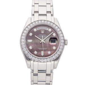 Rolex MOP Diamonds Platinum Day-Date 18946 Men's Wristwatch 39 MM