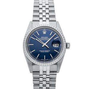 Rolex Blue Stainless Steel Datejust 16030 Men's Wristwatch 36 MM